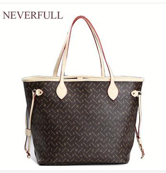 2018 prix de gros en vente pu en cuir femmes marque de mode NEVERFULL MM / GM épaule shopping sac en plein air