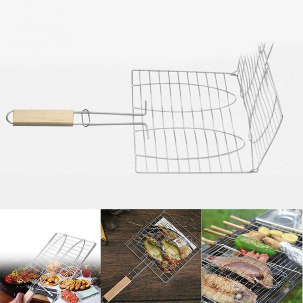 Outdoor Camping Kitchen Grill Rack BBQ Meshes Clip Folder Double Fish Meat Hinged Basket Tool Meat Fish BBQ Tool Wooden Handle