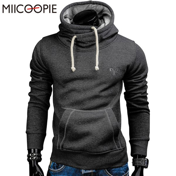 2018 New Spring Autumn Hoodies Uomo Fashion Brand Solid Dolcevita Sportswear Felpa Tute da uomo Moleton