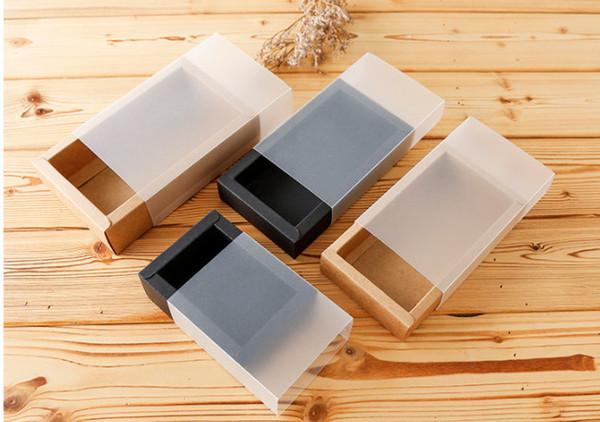Factory outlets drawer kraft paper boxes Black card gift Packing boxes Printable logo belt boxes Matte card sets box Inner diameter18*10*6cm