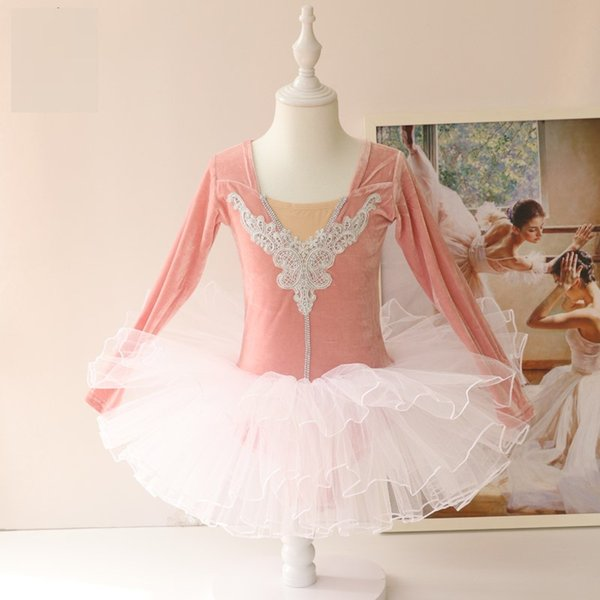 Robe de bal de velours à manches longues filles danse ballet Tutu ballerine danse vêtements Black / Pink Costume Lac des cygnes pour les filles enfants