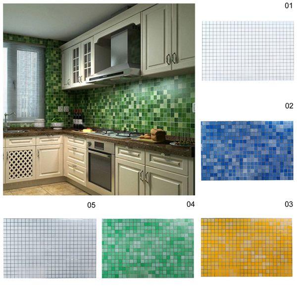 70 * 45 cm 3D Nachahmung Mosaik Tapete Aluminiumfolie Anti Öl Wandaufkleber für Badezimmer Küche Aufkleber Kunst Wrap DIY Dekoration S35