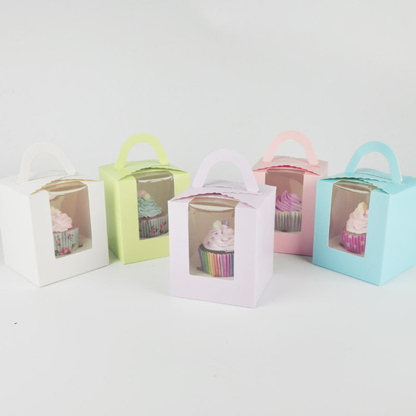 5 Colors Single Cupcake Box with Window & Handle Macaron Box Mousse Cake Box Baking Packaging