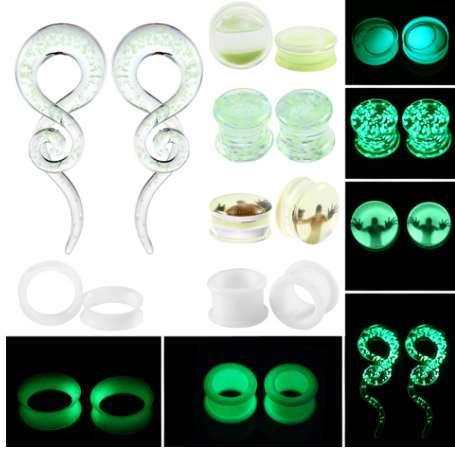 2pcs Multiple Styles Glow in the Dark Ear Tunnel Plugs Piercing Ear Taper Stretcher Kit Earring Gagues Expander Piercing Jewelry