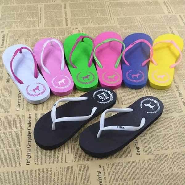top popular Girls Pink Flip Flops Love Pink Sandals Pink Letter Beach Slippers Shoes Summer Soft Beach Slipper Home Bath Slipper WX9-622 2020
