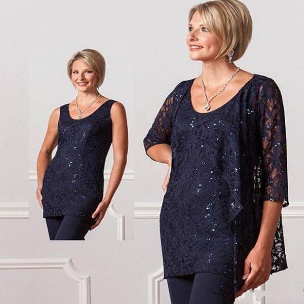 New Fashion Tre Pezzi Formale Chiffon della madre Pantaloni Tute Personalizzate Plus Size Donne Del Merletto Blu Navy Per Le Signore Da Sera Abiti Da Sposa DH334