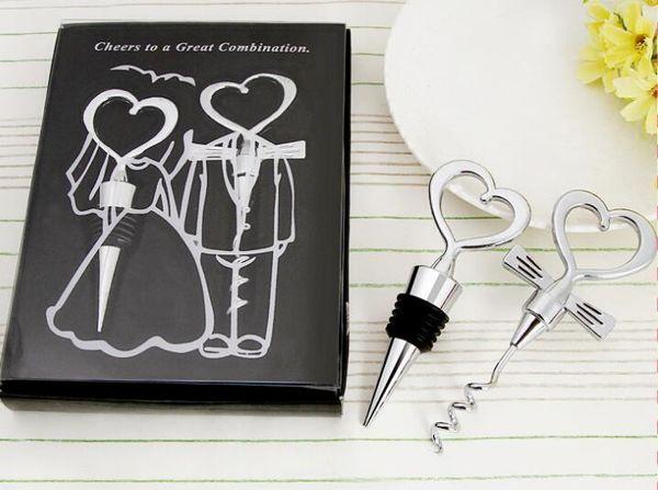 20 jogos 40 pcs abridor de garrafa de vinho em forma de coração grande combinação saca-rolhas e rolha de coração em forma de favores do casamento presente
