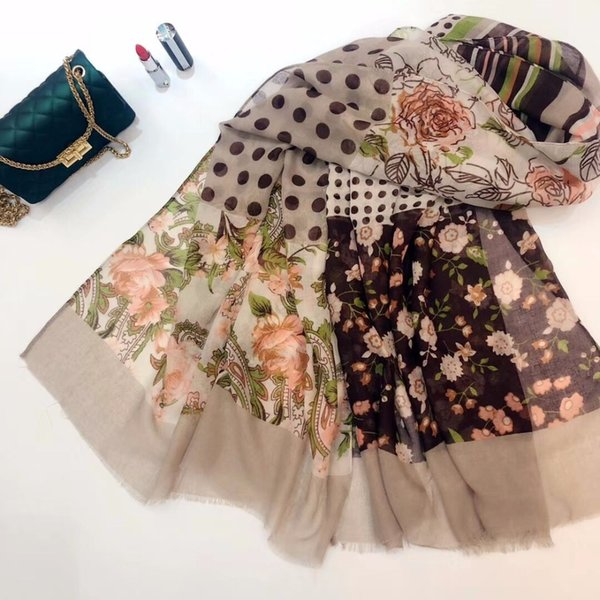 Newest Women Floral Pattern Scarf Dot Pattern Scarf Quality Cotton Fringe Scarf 6Colors 10PCS/lot