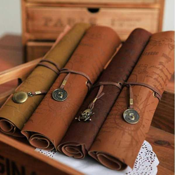 Retro Vintage Pirate Roll Up PU Leather Pen Pencil Case Bags Treasure Map Kid Party Gift Favor Make up Cosmetic Bag H0003