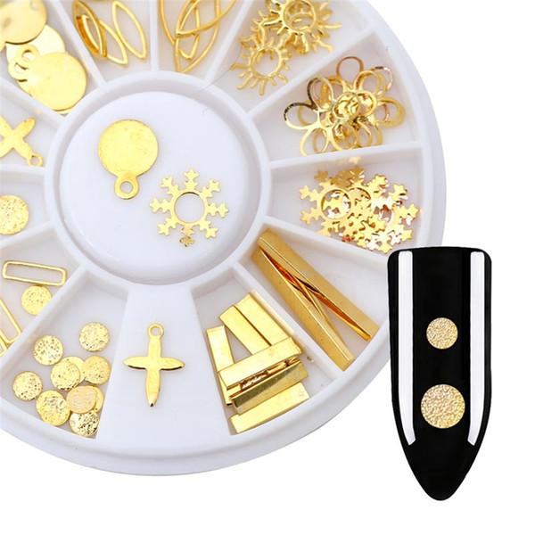 Mixed Shape 3D Metallic Studs Frame Rose Gold Alloy Nail Art Gems Decoration Rhinestones Wheel Snowflake Starfish DIY Tip