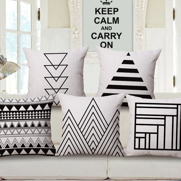 45cm Fanshion Cotton Linen Fabric Throw Pillowcase Black White Nordic Hot Sale 18 Inch New Home Coffee House Sofa Back Decor Cushion Cover
