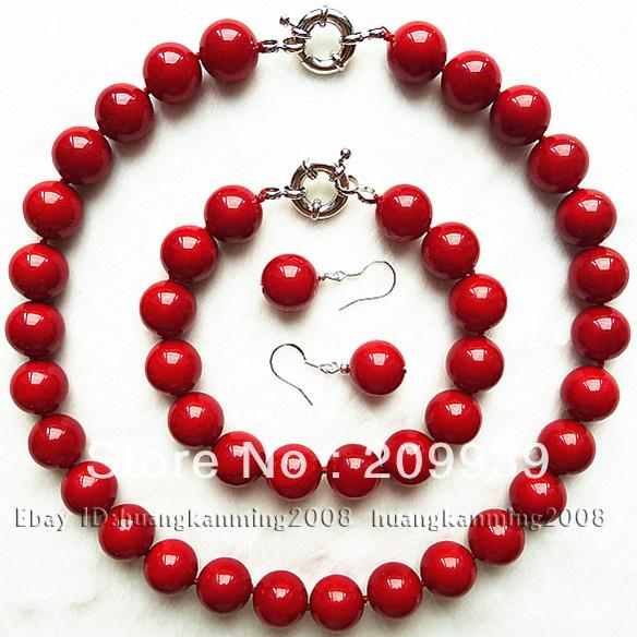 Affascinante! 10mm Red Sea Shell Pearl Necklace Bracelet Earring 1 Set