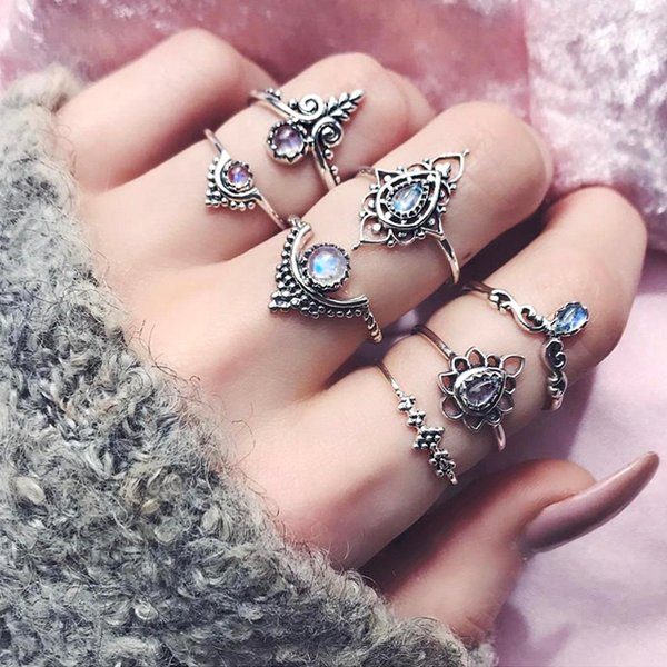 7PCS Fashion Leaves Gem Midi Ring Sets Crown Water drops Vintage Crystal Opal Knuckle Rings for Women Anillos Mujer Jewellery