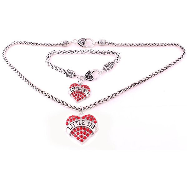 LITTLE SIS 5set With Crystal Heart Charm Pendent Lobster Claw Wheat Chain Necklace Bracelet Set Jewelry
