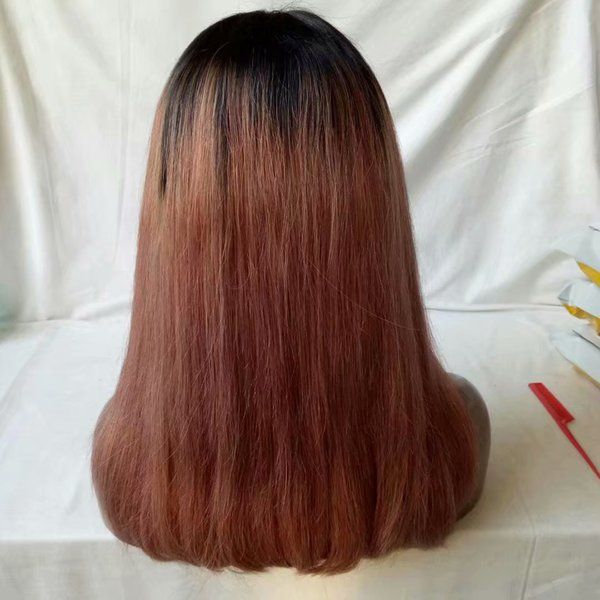 Ombre 1B/33 Human Hair Lace Front Wigs Straight Middle Part Free Part Full Lace Wigs for Black Women Long Wigs 8-28 Inch