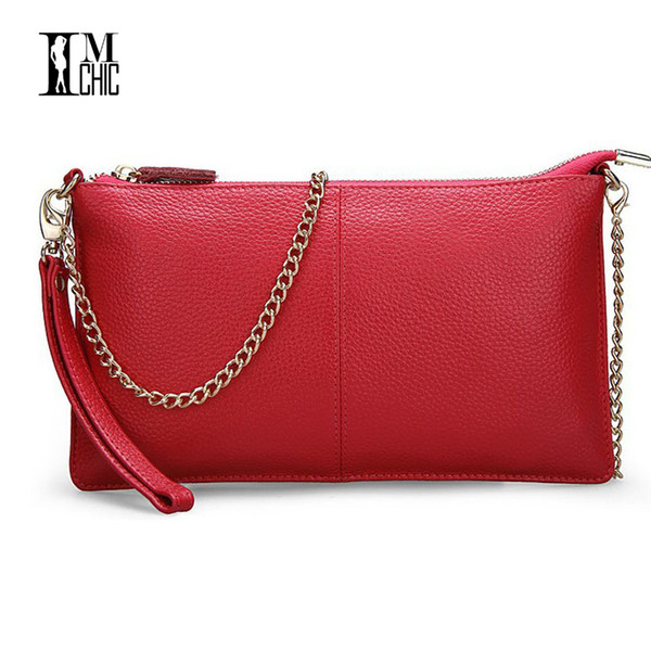 Soft Genuine Leather Ladies Chain Shoulder Bag Real Cowskin Women Small Clutch Bags Classic Girl Gift Evening Party Handbags Y18110101