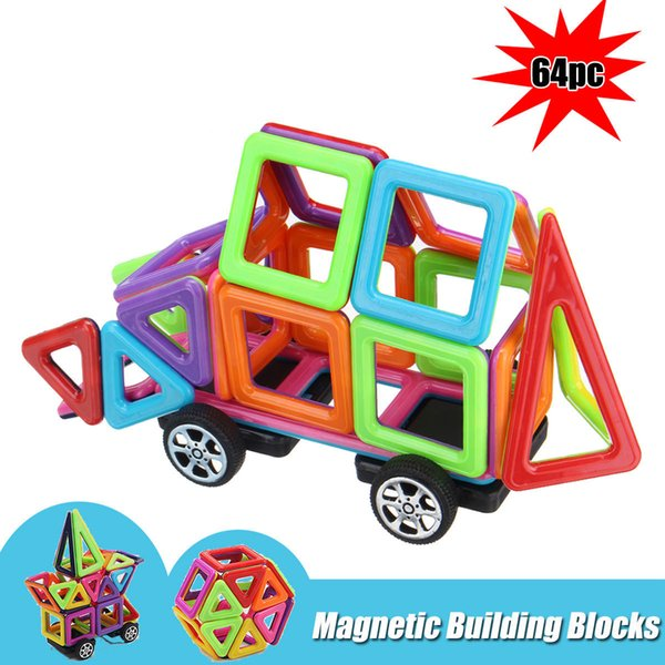64Pcs Kids Magnetic Building Blocks Colorful Construction Educational Toys Gift ducational 3D Tiles Set Toy for Toddler Kids FFA183