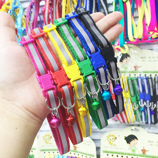top popular 100pcs Lot 6 colors High quality adjustable Nylon 100% Breakaway Safety Quick Release Reflective Cat Collar with Bell 2020