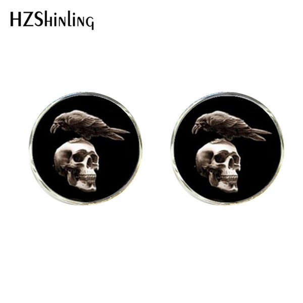 Nuevo Cromado Cráneo y huesos Corbata Clip Cuervo Cuervo Cuervos Vintage Cufflinks Set Silver Glass Cabohcon Cuffs CT-0012