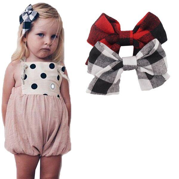 4.5 Inch Plaid Hair Bows Red Black Linen Fabric Hair Clips For Girls Children Hairgrips Handmade Hair Accessories