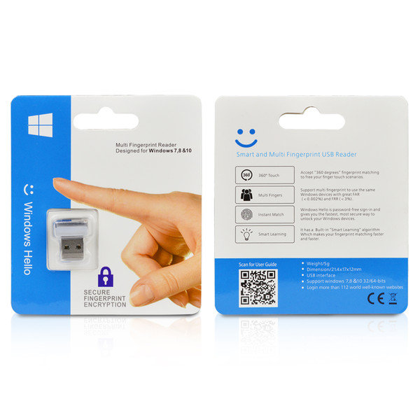 USB Fingerprint Reader Windows 7/8/10 Hello Biometrico Fingerprint Scanner PC Dongle per file Password-free Crittografia sito Web Sicurezza