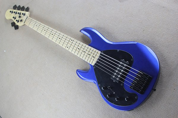 Left Handed Blue 6 Strings Electric Bass Guitar with 21 Frets,Maple Fingerboard,can be changed