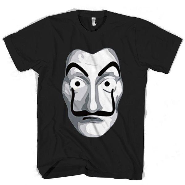 La Casa De Papel Maske Herren / Damen T-Shirt gestrickt bequemer Stoff Street Style Herren T-Shirt Top Qualität Baumwolle