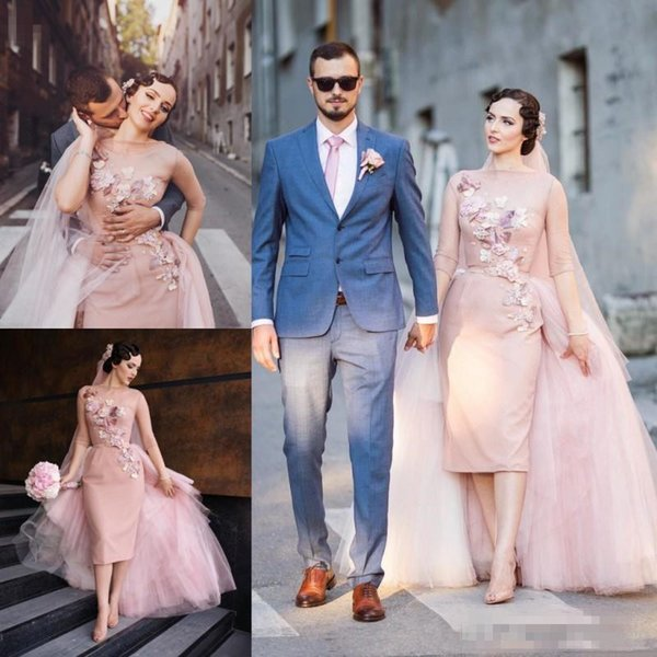 Blush Pink Short Wedding Dresses With Tulle Detachable Train 2018 Summer Sheer Neck Half Long Sleeve Sheath Applique Bridal Gowns