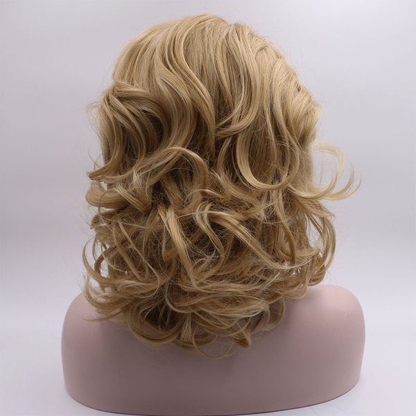 Cheap Short Curly Wigs Synthetic Light Blonde Mix Brown Bob Bouncy Curly Synthetic Lace Front Wig Glueless Heat Resistant Fiber Hair