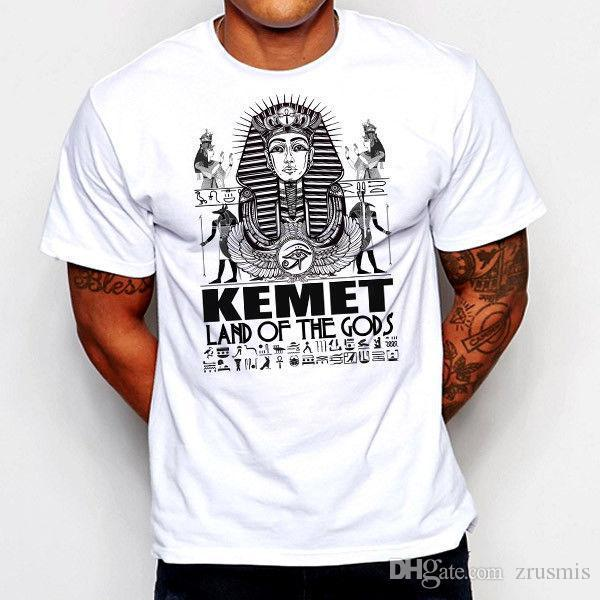 2018 Nieuwste Fashion Egyptische T-Shirt Egypte Kemet Farao Ankh Toetanchamon oog van Horus Ra Land van Gods100% Katoen Humor Tee Shirts