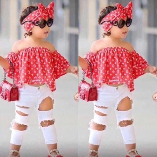 Meninas do bebê Conjunto de Roupas Crianças Moda Top Pant Two Piece Crianças Terno de Verão Meninas Boutique Outfits BB430