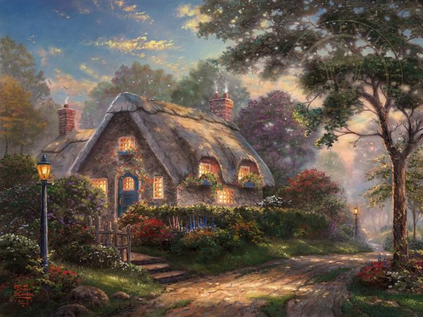 Thomas Kinkade Landscape Lovelight Cottage,Oil Painting Reproduction High Quality Giclee Print on Canvas Modern Home Art DecorT345