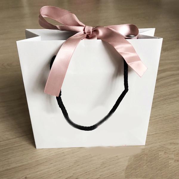 Moda Pembe Kurdele Kağıt Torba Bilezik Ve Kolye Kutusu Seti Kadınlar Için Orijinal Pandora Takı Boncuk Charm Dış Ambalaj.