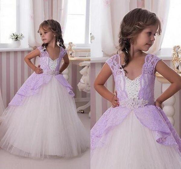 2018 New Cute Princess Purple Tulle Flower Girls' Dresses for Weddings Hand Made Flower Puffy Cheap First Communion Tutu Dress