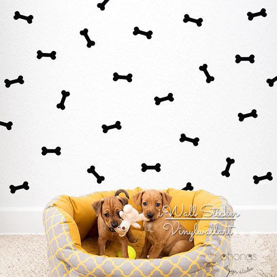 Bone Wall Sticker Dog Bones Wall Decal Removable Easy Wall Stickers DIY Baby Nursery High Quality Cut Vinyl P40