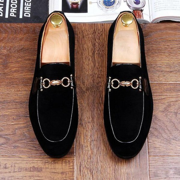 Men Loafers Suede Leather Pointed Toe Oxfords Business Brand Dress Shoes Formal Oxford Shoes For Men Flats Wedding Shoes