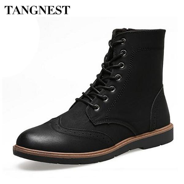 Tangnest adamın Kılavuzu Dikiş Cut-Çıkışları Ayak Bileği Çizmeler Erkekler El Yapımı PU Deri Ayakkabı Erkekler Kış Dantel Kadar Yan Zip Moda Çizmeler XMX649