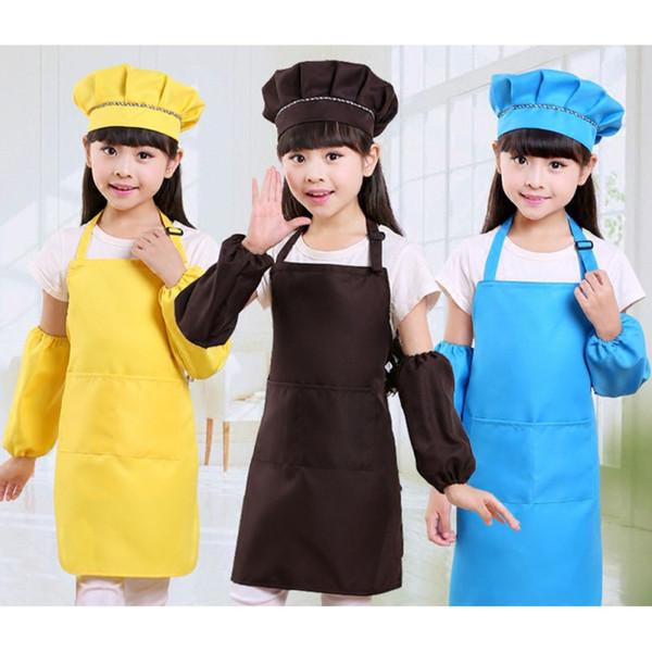 top popular Children Baby Kids Apron Sleeves Hat Set Big Pocket Kitchen Baking Painting Cooking Craft Art Bib Apron 2020