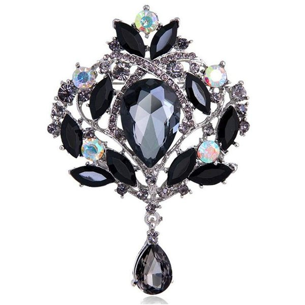 Large Silver-Tone Flower Ribbon Teardrop Multicolor Crystal Pendant Brooch Black Crystal