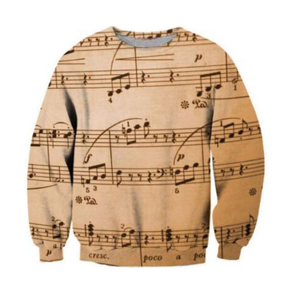 3D Music Note Pullover Punk Rock Fitness Plus Size 6XL Sweatshirt Tracksuit Men Women Harajuku Funny Print Sweatshirts Hooded