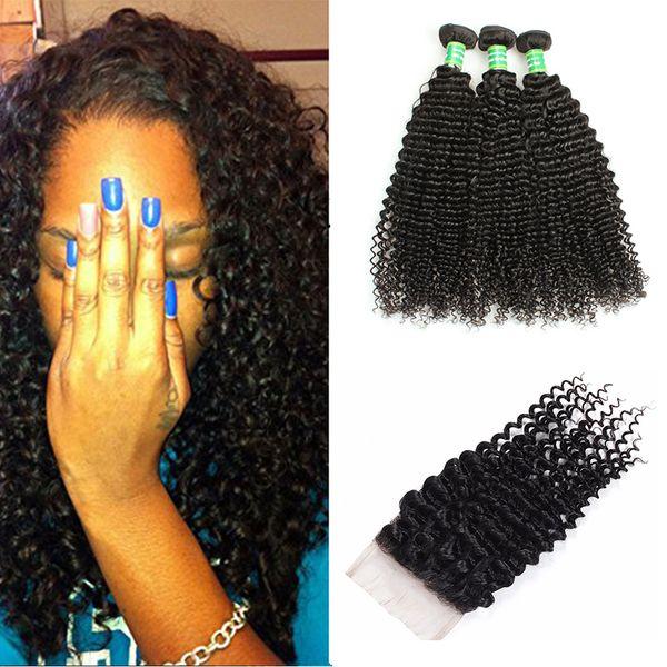 Mongolian Kinky Curly Virgin Hair 3Bundles With Lace Closure 100% Unprocessed 8A Mongolian Kinky Curly Human Hair Bundles With Closure Weave