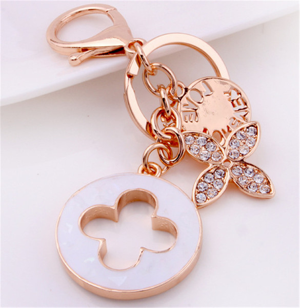 luxury style Clover Key Chains Creative Keychain Fashion Keyring Metal Key Ring Holder Car Accessories Women Bag Charm women car keychain