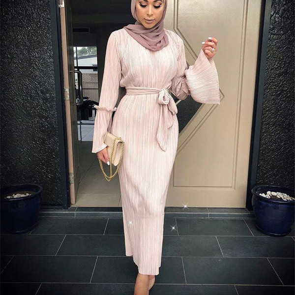 Muslim Falten Bleistift Rock Pliss Maxi Kleid Trompete Ärmel Abaya Long Roben Tunika Nahen Osten Ramadan Arabischen islamischen Kleidung