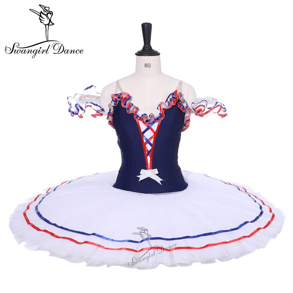 Adult Navy Blue White Women Pancake Platter Ballet Tutu Dress Ballet Stage Costume Flames Bird Professional Ballet Tutus Girls BT9213