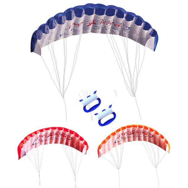 Fun Rainbow Double Line Kite Outdoor 30m Due linee Sport controllato Beach Flying Kite con maniglia per bambini Adulti facile da volare