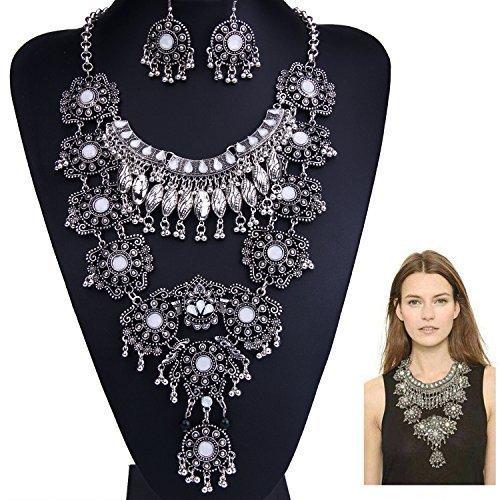 Boho Bildirimi Kolye Moda Uzun Gümüş Kadınlar için Bohemian Hint Takı Okside Büyük Etnik Kostüm Takı 2 Renkler 1 Adet