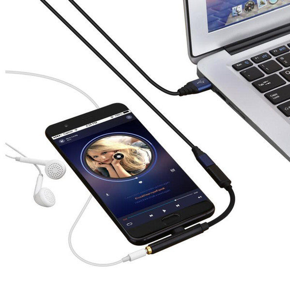 Type-C Audio Data 2 in 1 Type C to 3.5 Converter Adapter for Type C Extension Cable Charging Music