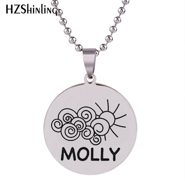 SS-0023 2018 New Molly Stainless Steel Necklace Art Hand Craft Pendant Necklaces Round Silver Jewelry Ball Chain For Men