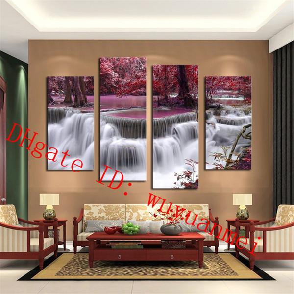 Schöne Wasserfall Landschaft, 4 Stück Home Decor HD gedruckt moderne Kunst Malerei auf Leinwand (ungerahmt / gerahmt)