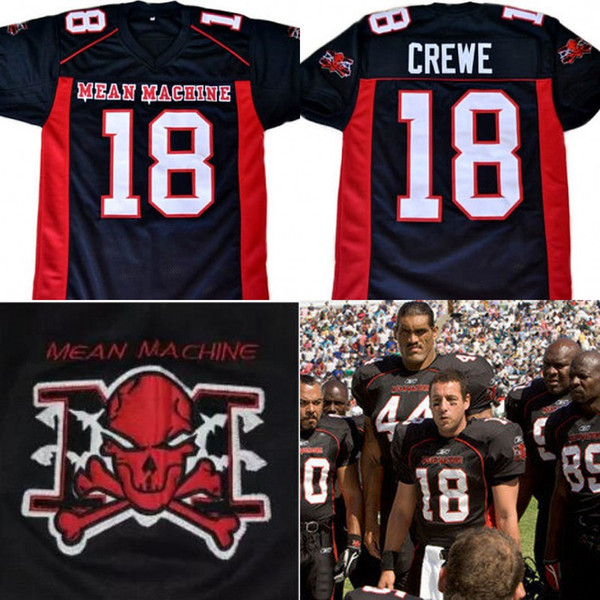The Longest Yard Movie Jersey EJ Paul Crewe #18 American Football Jersey Mean Machine 100% Stitched Retro Jerseys Black